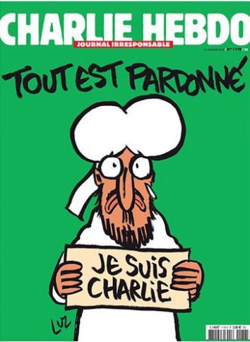 Issue 2015-1-14 of CHARLIE HEBDO TOUT EST PARDONNÉ All Is Forgiven, cries Prophet Mohammed.