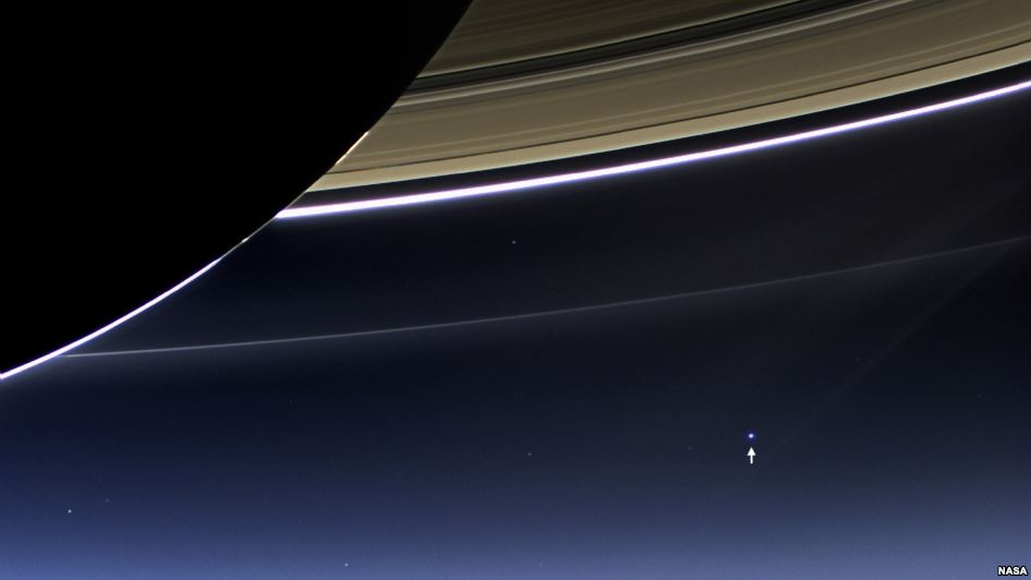 NASA's Cassini spacecraft with images of Earth and Moon as seen from Saturn.