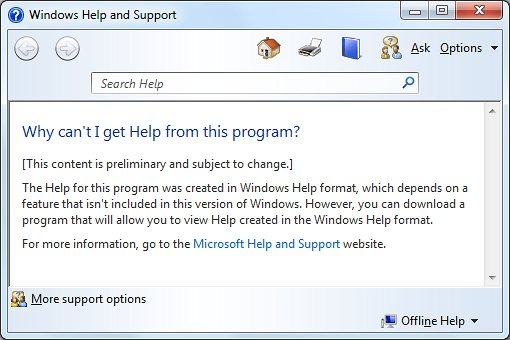 The Microsoft support website states that no help is available for certain applications.